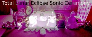 an image with a text on the top entitled lunar eclipse ssonic ceremony with a different tools like a large white bowl