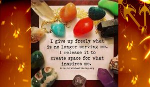 a picture with a text written in the center of the different kinds of healing stones saying I give up freely what is no longer serving me. I release it to create space for what inspires me.