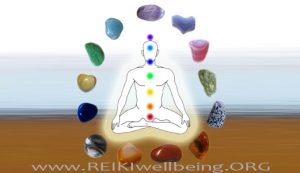 an image with a drawing picture of a man with no face meditating focusing her energy and sorrounded by 13 different healing crystals