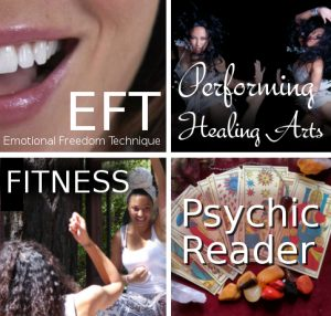 an image with four different pictures on it the first image is about emotional freedom technique second picture is an image of 2 women dancing with a supporting text performing healing arts the third picture is a women teaching about fitness wile sitting and raising her left hand and the last one is an image with cards and healing stones with a text psychic reader