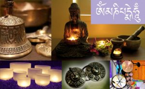an image with five different pictures a bronze bell, a white jar, a buddha with candles lights etc